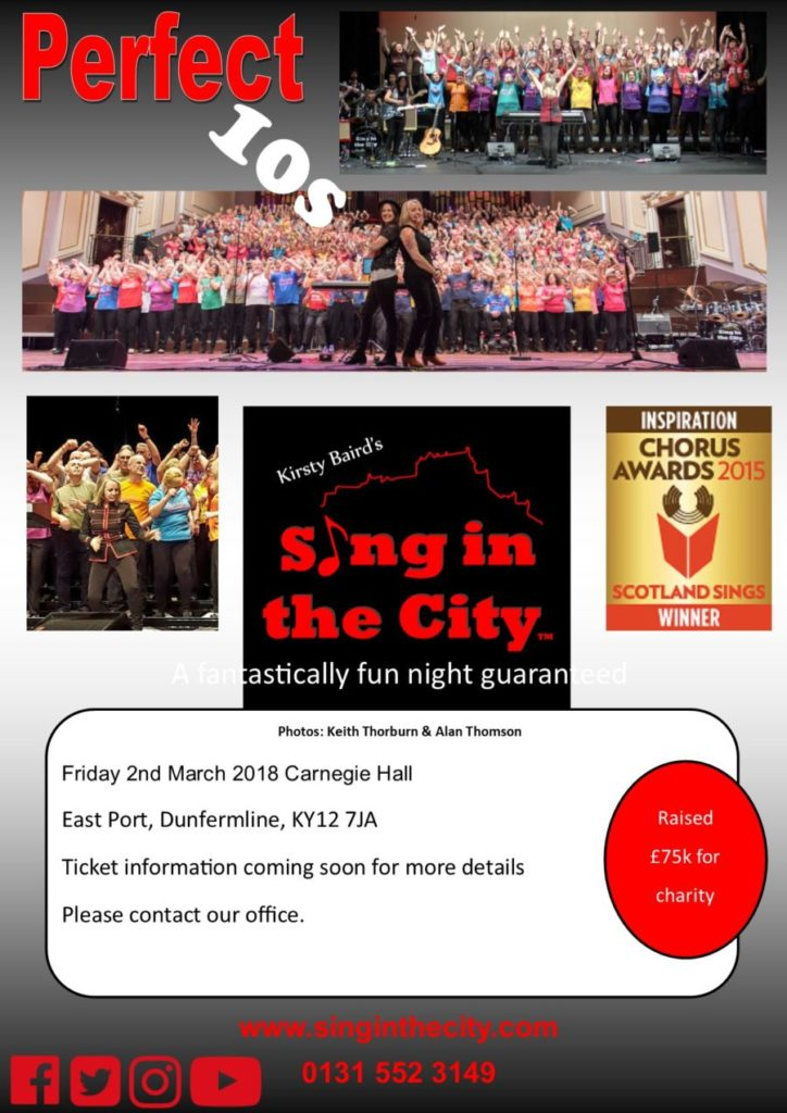 Poster for Sing in the City Perfect 10s @ Carnegie Hall Dunfermline