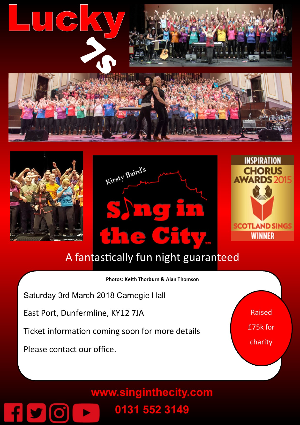 Poster for Sing in the City Lucky 7s @ Carnegie Hall Dunfermline