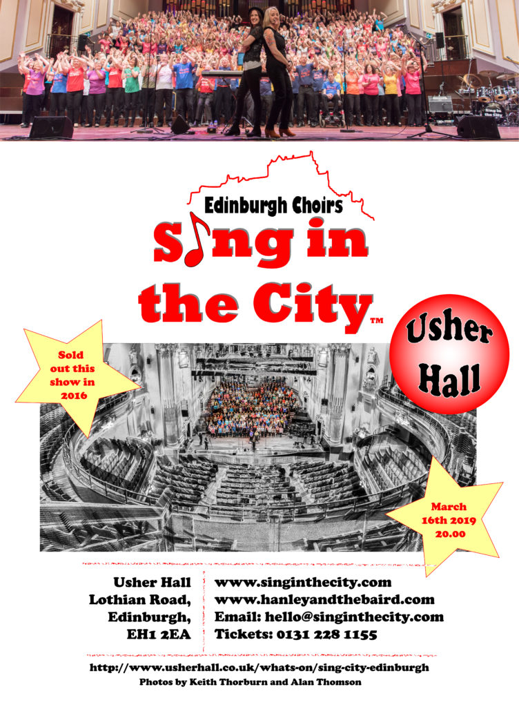 Poster for Sing in the City return to the Usher Hall 2019