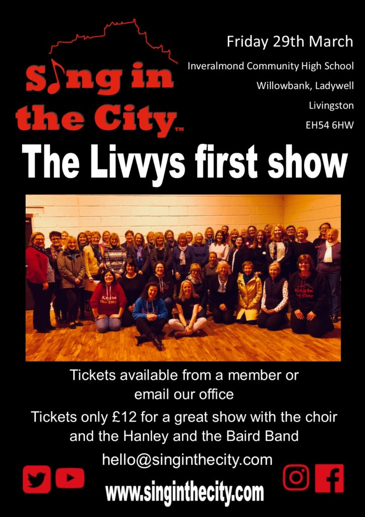 Poster for Sing in the City Livingston choir first show