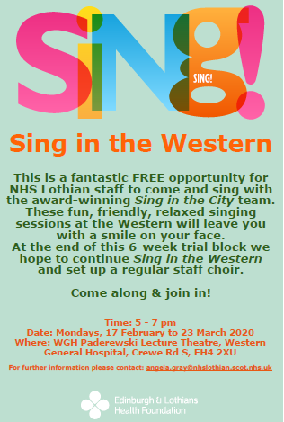 poster for the western general hospital staff choir provided by western general connect